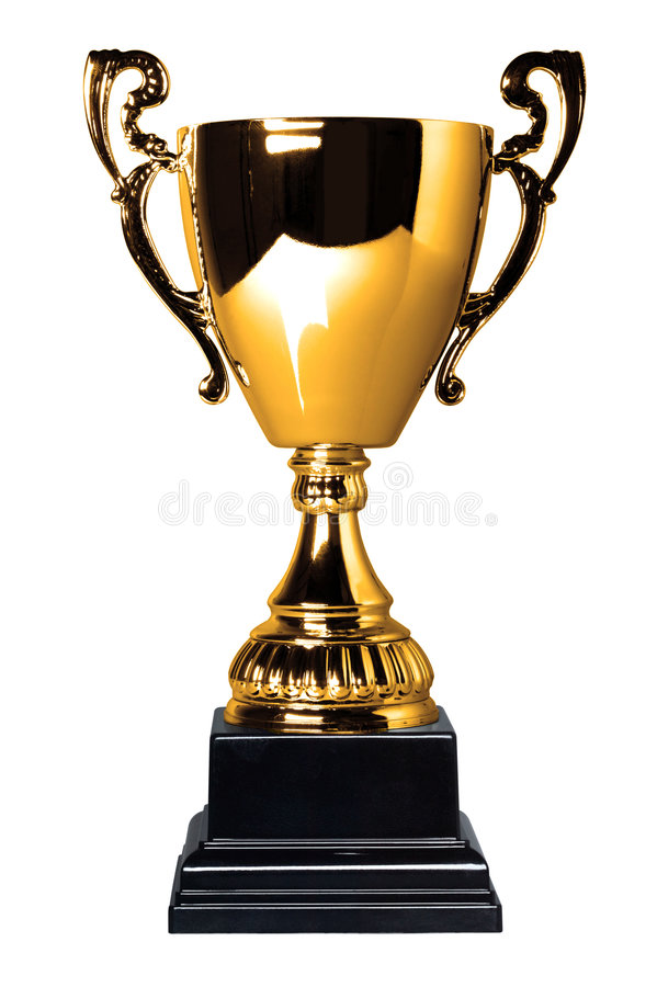 filiżanki złota odosobniony trofeum zdjęcie stock