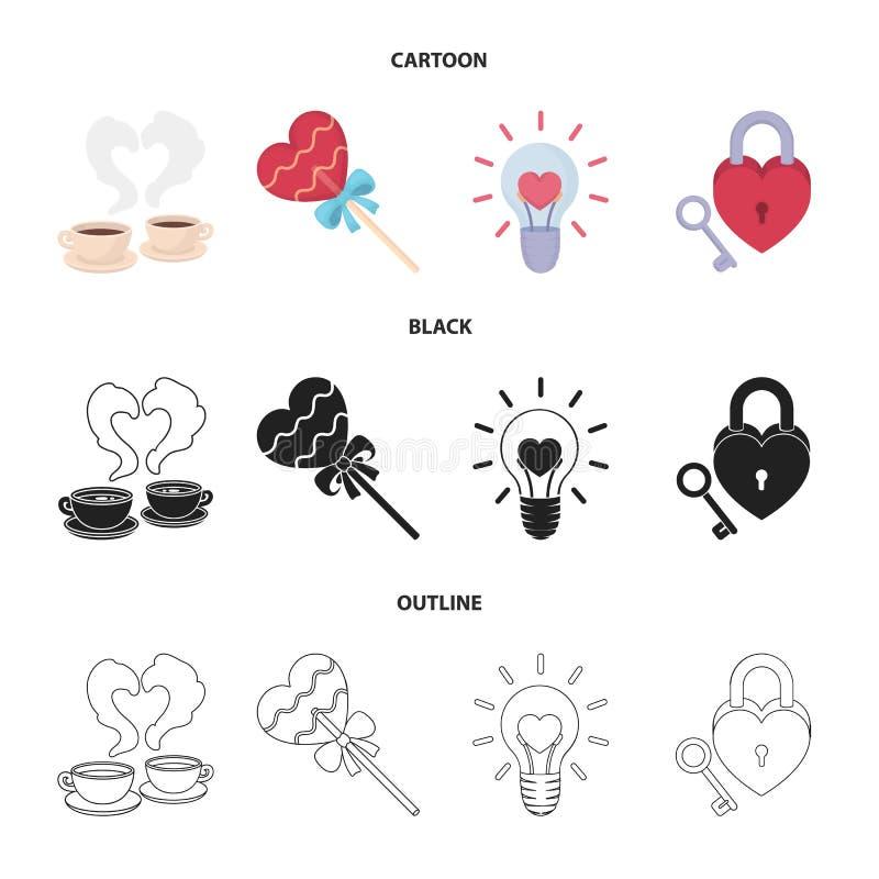 Filiżanki z kawą, valentine, lampa, kędziorek z kluczem Romantyczne ustalone inkasowe ikony w kreskówce, czerń, konturu stylowy w ilustracja wektor