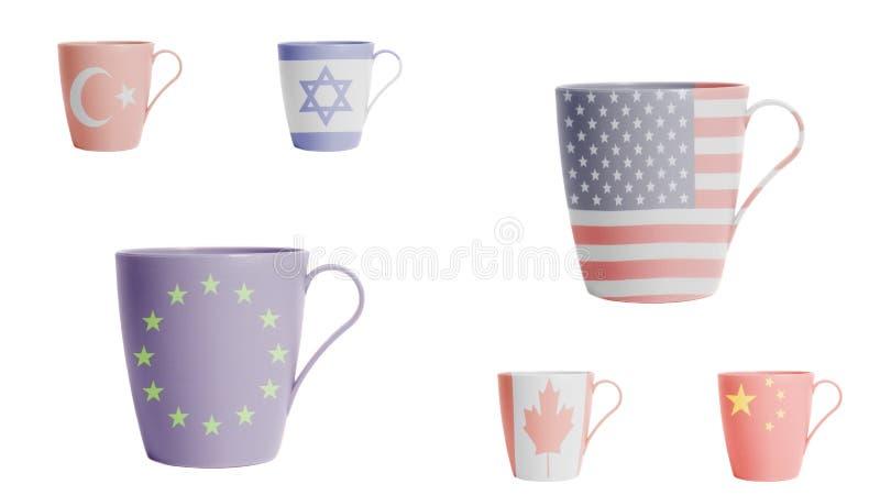 Filiżanki z usa, Kanada, Europejski zjednoczenie, turecczyzna, Izrael, Chiny zaznaczają ilustracji