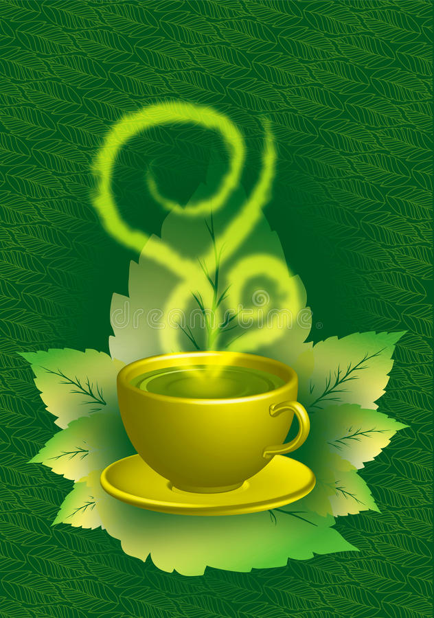 filiżanki zielona herbata ilustracji