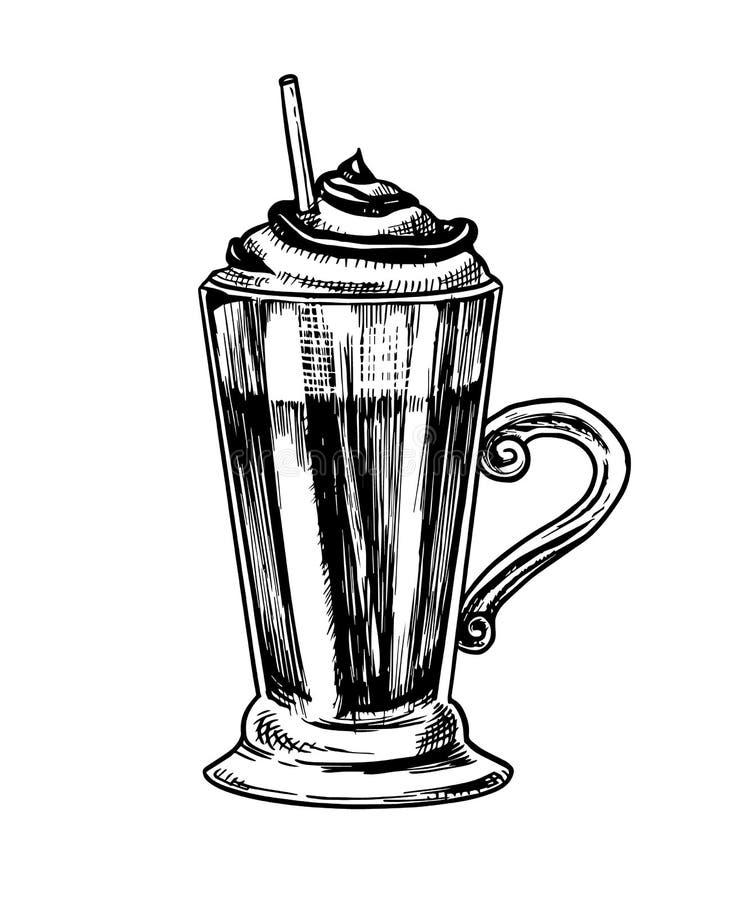 Fili?anka kawy w rocznika stylu Mokka w szkle Ręka rysujący grawerujący retro nakreślenie Szablon dla logo lub etykietki ilustracji