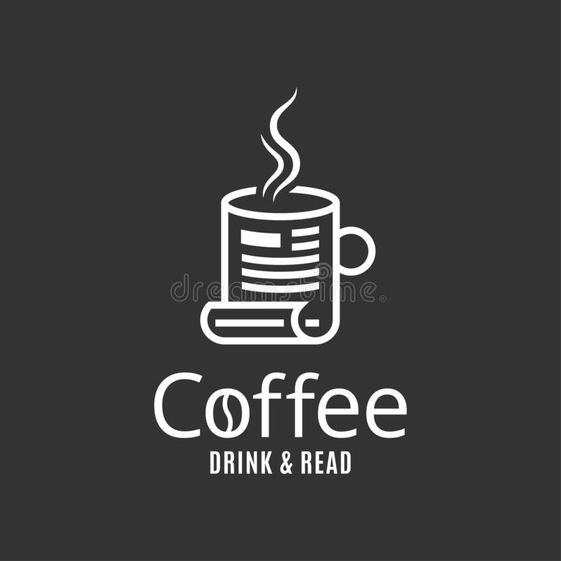Fili?anka logo Pojęcie kawowy napój i czytający royalty ilustracja