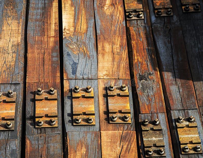 Fili di legno per ferrovia ferroviaria fotografia stock