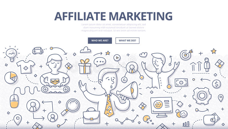 Filia marketingu Doodle pojęcie ilustracji