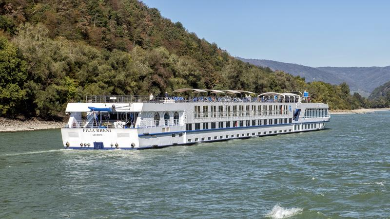 The Filia Rheni, a luxurious river cruise ship on the Danube River, Wachau Valley, Lower Austria stock images