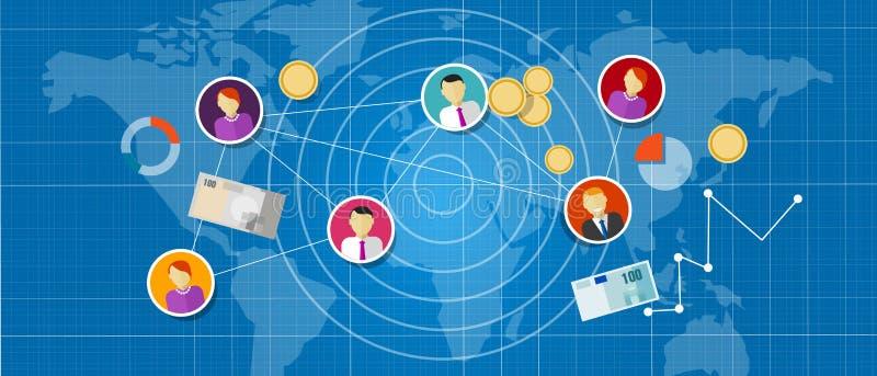 Filiaal die de multi verbonden mensen van het niveau mlm netwerk verkoop op de markt brengen vector illustratie