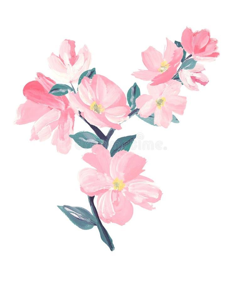 Filial av av den rosa Sakura blomningen eller den japanska blomma körsbäret som är symboliska av våren royaltyfri illustrationer