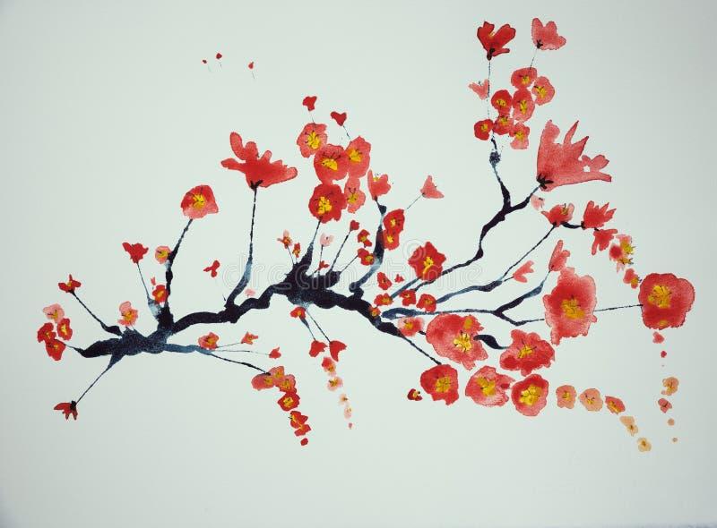 Filial av körsbärsröda blomningar på en vit bakgrund royaltyfri illustrationer
