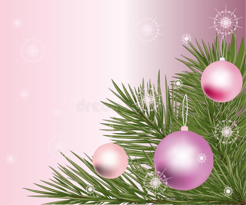 Filial de árvore com fundo do `s do ano novo. ilustração stock