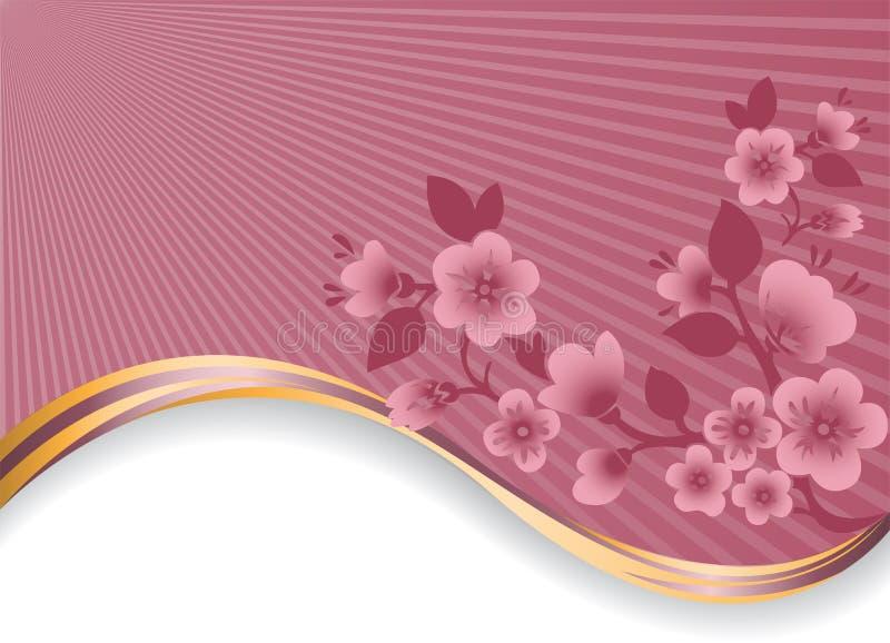 Filial de florescência em uma onda dourada ilustração royalty free