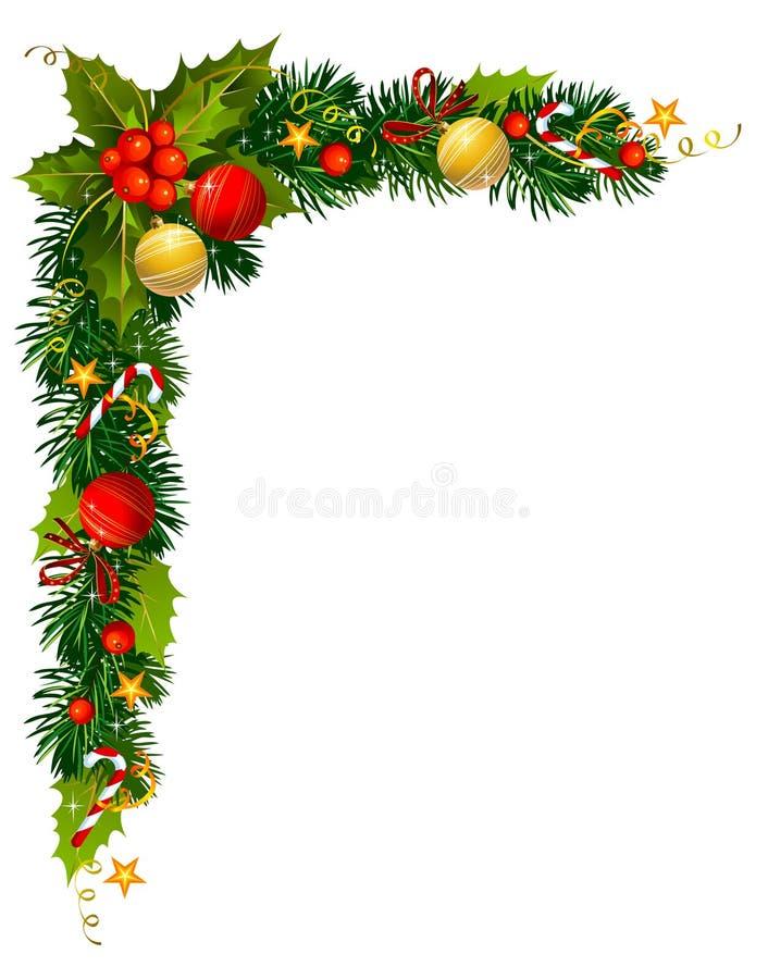 Filial do azevinho do Natal no canto ilustração stock