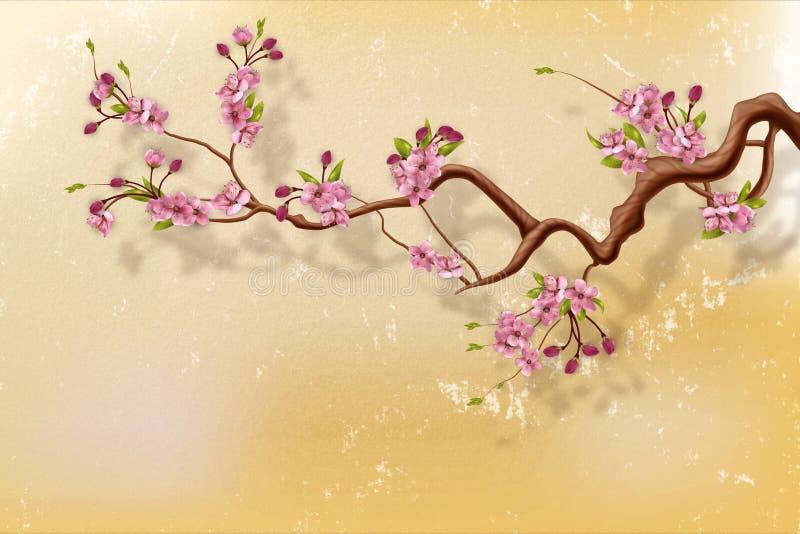 Filial för körsbärsröd blomning mot grungeväggen vektor illustrationer