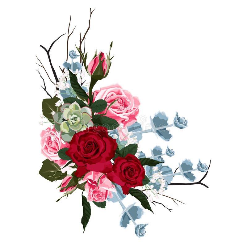 Filial floral Floresça o vermelho, Borgonha aumentou, as folhas do verde e as plantas carnudas ilustração royalty free