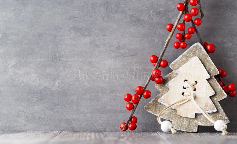 Filial med röda bär, juldekor royaltyfri foto