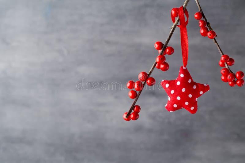 Filial med röda bär, juldekor arkivfoton