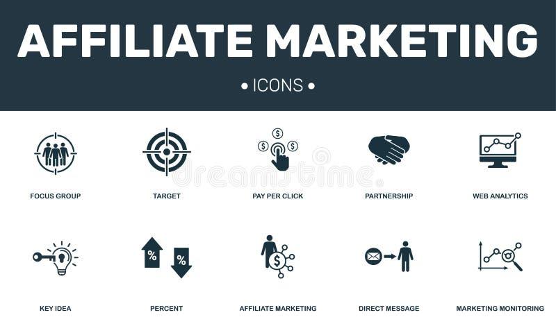 Filial som marknadsför den fastställda symbolssamlingen Inkluderar enkla beståndsdelar liksom fokusgruppen, mål, nyckel- idé, öve royaltyfri illustrationer