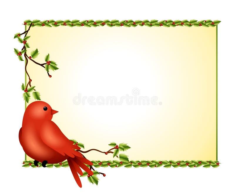 Filiale dell'agrifoglio dell'uccello di inverno illustrazione di stock