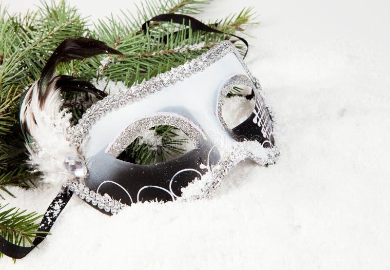 Filiale dell'albero di Natale con la mascherina veneziana della casella fotografia stock