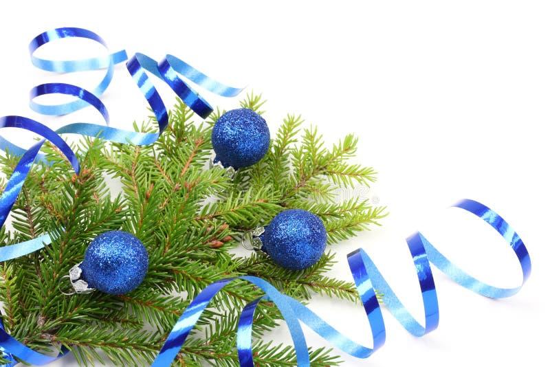 Filiale dell'albero di Natale e nastro blu immagini stock