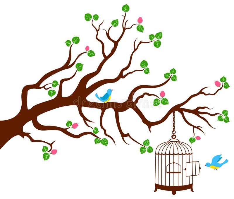 Filiale di albero con la gabbia di uccello e due uccelli illustrazione di stock