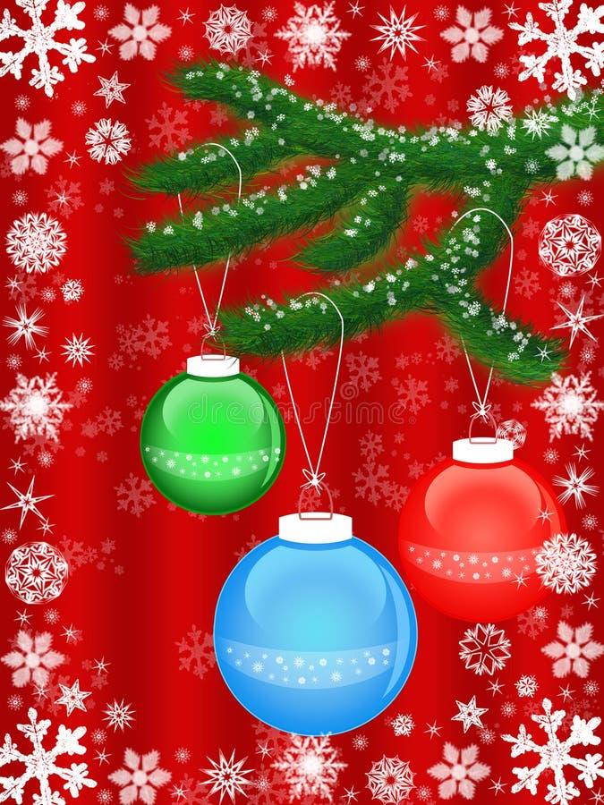 Download Filiale Verde Con Le Sfere Di Natale Illustrazione di Stock - Illustrazione di oggetti, colore: 7321271