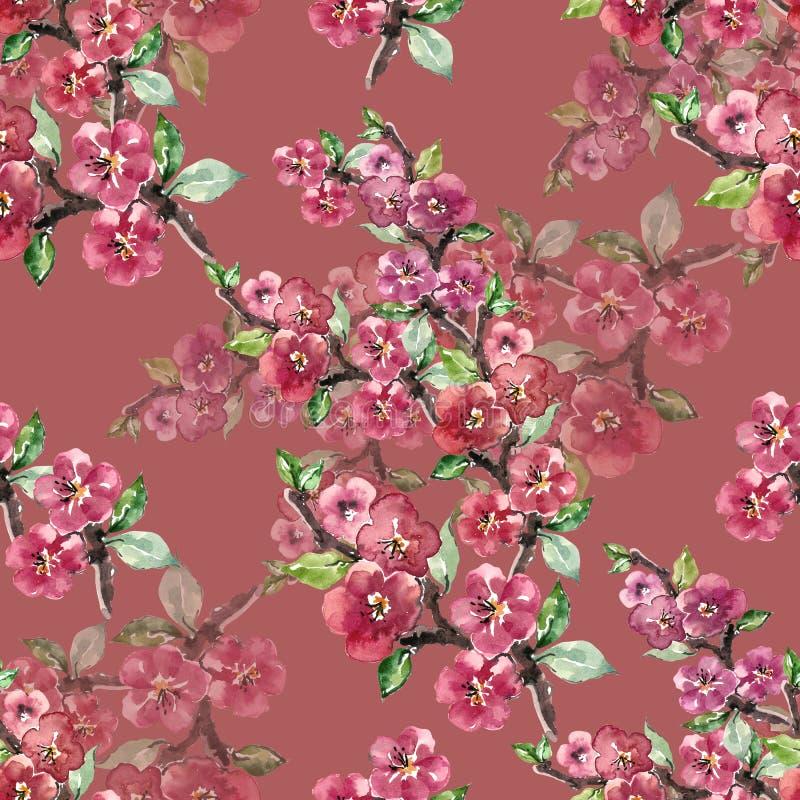 Filialen blommar Sakura Sömlös modell för slöjdvattenfärg på en lila bakgrund royaltyfri illustrationer