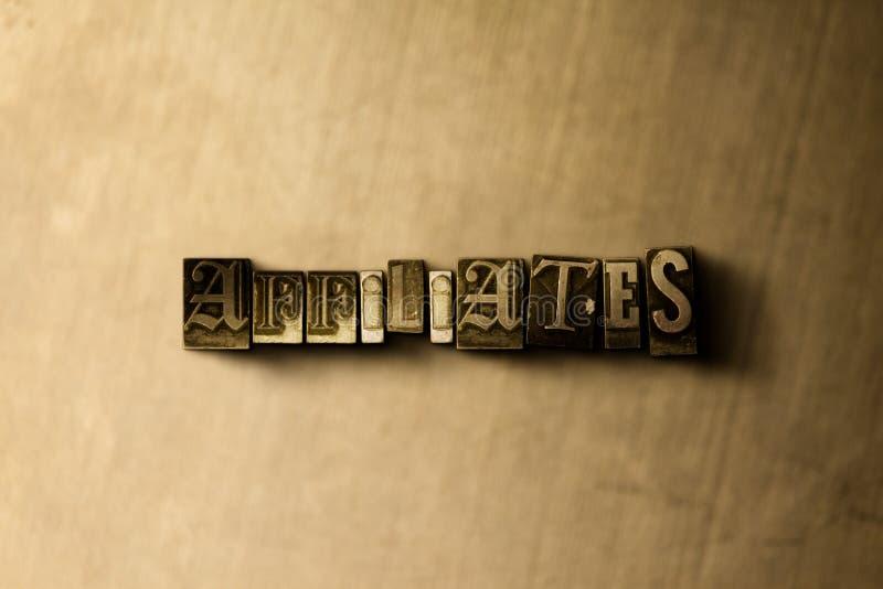 FILIALEN - close-up van grungy wijnoogst gezet woord op metaalachtergrond royalty-vrije stock fotografie