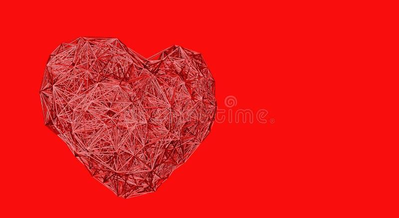 Filialen gjorde hjärta på röd bakgrund - minsta design stock illustrationer