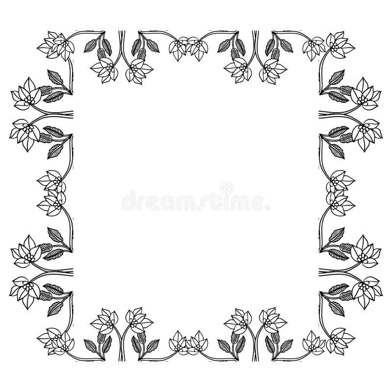Filialer blommar isolerat på vit bakgrund, blom- ramdesignbeståndsdelar för inbjudningar, hälsningkort vektor vektor illustrationer