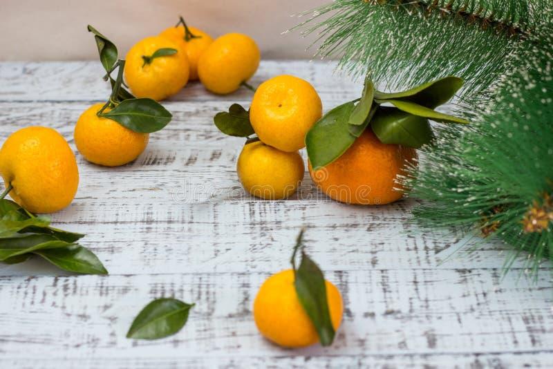 Filialer för Mandarinefrukt- och julträd över lantlig träbakgrund arkivfoton