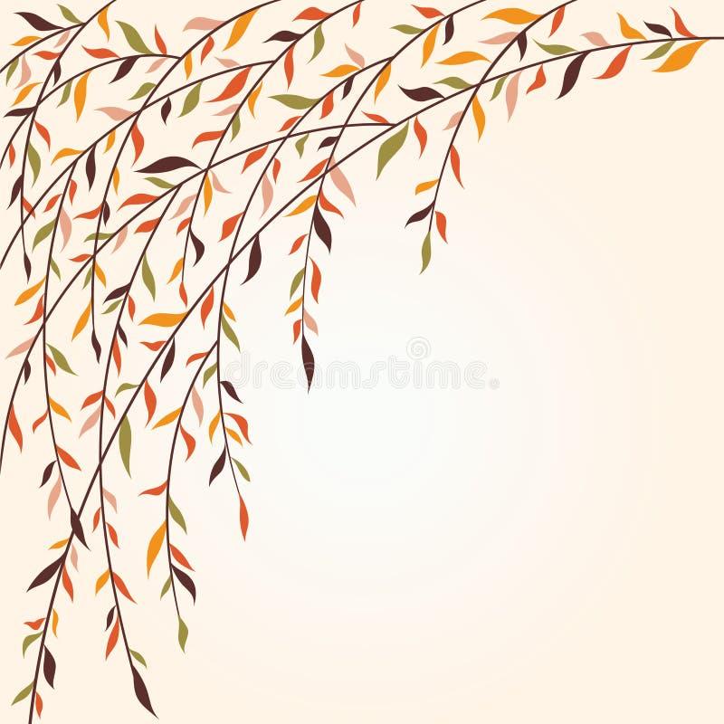 Filiali di albero stilizzate con i fogli royalty illustrazione gratis