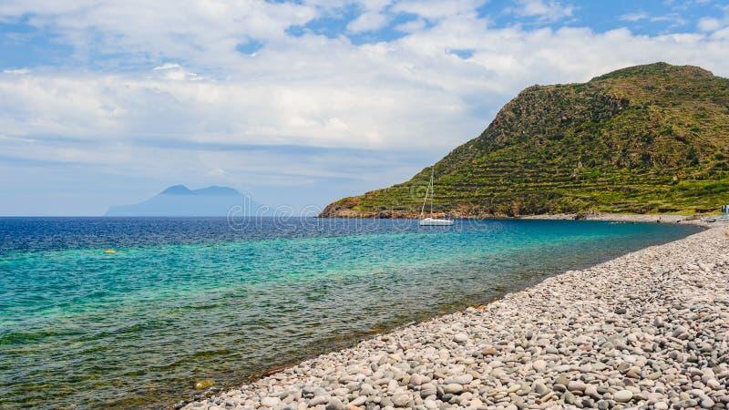 Filicudi island pebble beach. stock photo