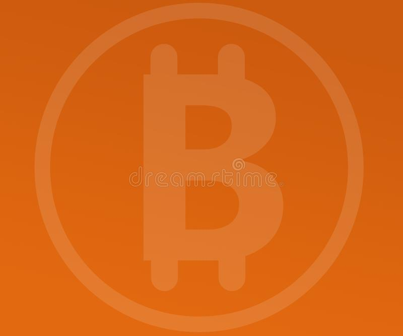 Filigrana abstracta de Bitcoin del fondo en pendientes anaranjadas libre illustration