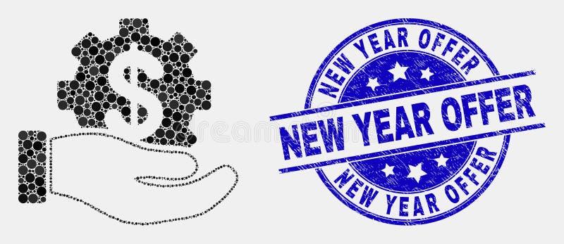 Filigrana da oferta do ícone da mão do serviço de banco do pixel do vetor e do ano novo do Grunge ilustração do vetor