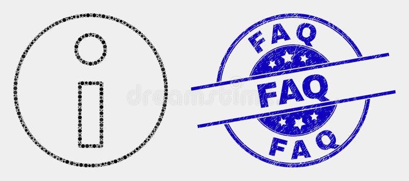 Filigrana de la información del FAQ punteado vector del icono y de la desolación ilustración del vector