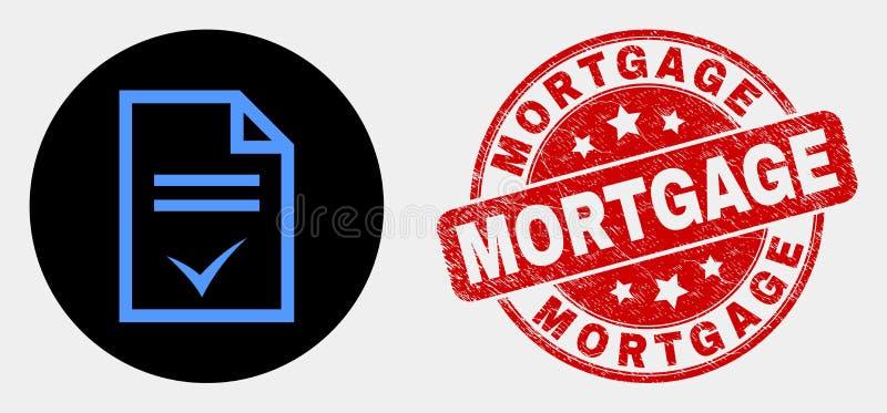 Filigrana do ícone da página do acordo do vetor e da hipoteca da aflição ilustração do vetor
