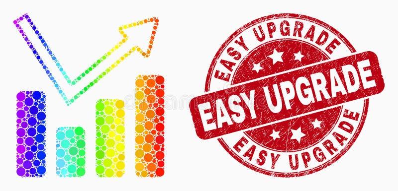 Filigrana facile dell'icona del grafico del grafico del pixel colorata arcobaleno di vettore e di aggiornamento di lerciume illustrazione vettoriale