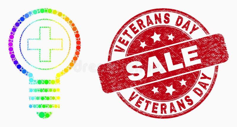Filigrana médica pontilhada colorida arco-íris da venda do ícone do bulbo do vetor e do dia de veteranos do Grunge ilustração royalty free
