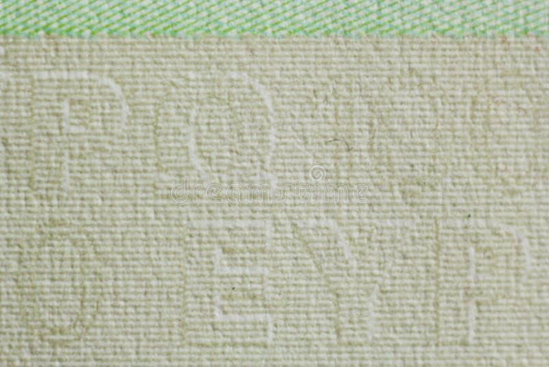 Filigrana protetora em cem contas do euro no macro proteção contra falsificar das cédulas hologram detalhe de papel imagens de stock