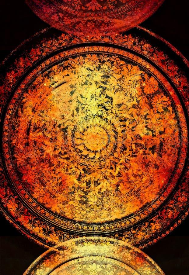 Filigrane bloemenornament op zwarte achtergrond, computercollage Brandeffect vector illustratie