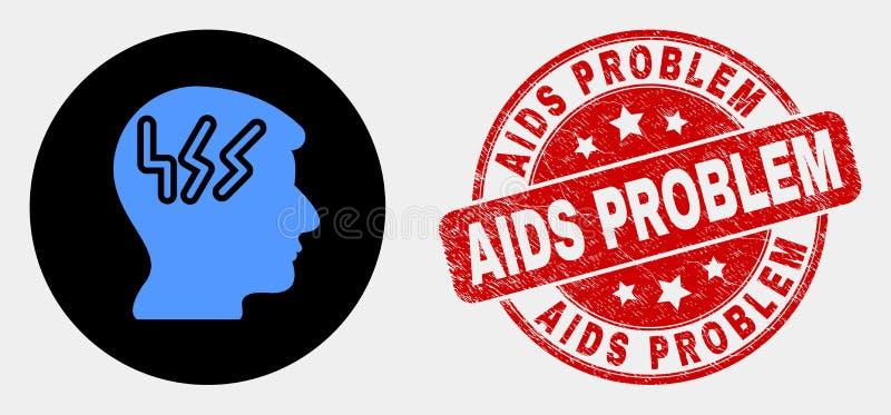 Filigrane de problème de SIDA principal d'icône et de grunge de migraine de vecteur illustration libre de droits