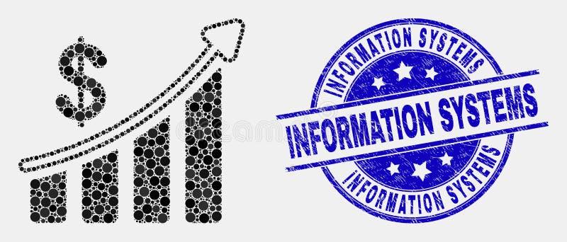 Filigrane financier de systèmes d'icône de diagramme de succès de Pixelated de vecteur et d'information de détresse illustration libre de droits