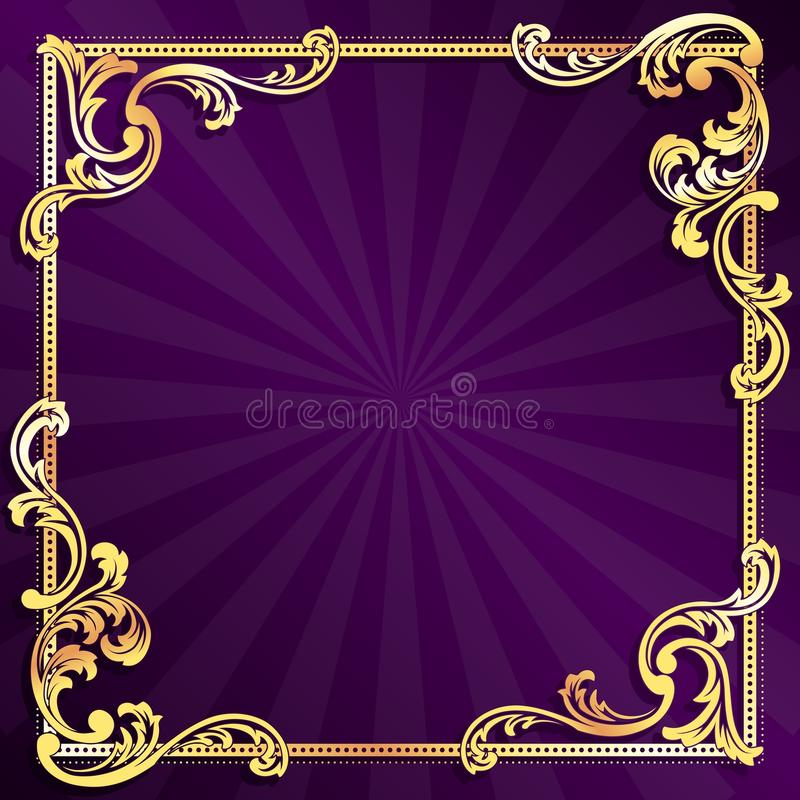 filigree χρυσή πορφύρα πλαισίων ελεύθερη απεικόνιση δικαιώματος