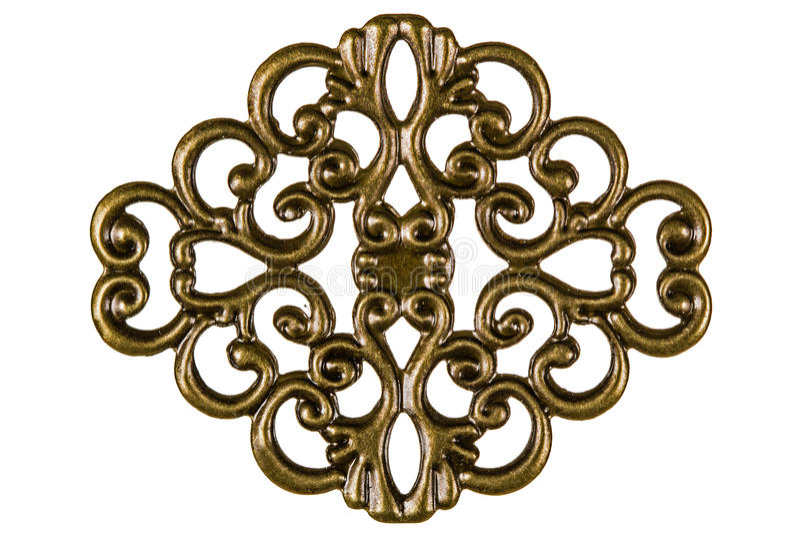 Filigree, decorative element for manual work, isolated on white. Background stock photo