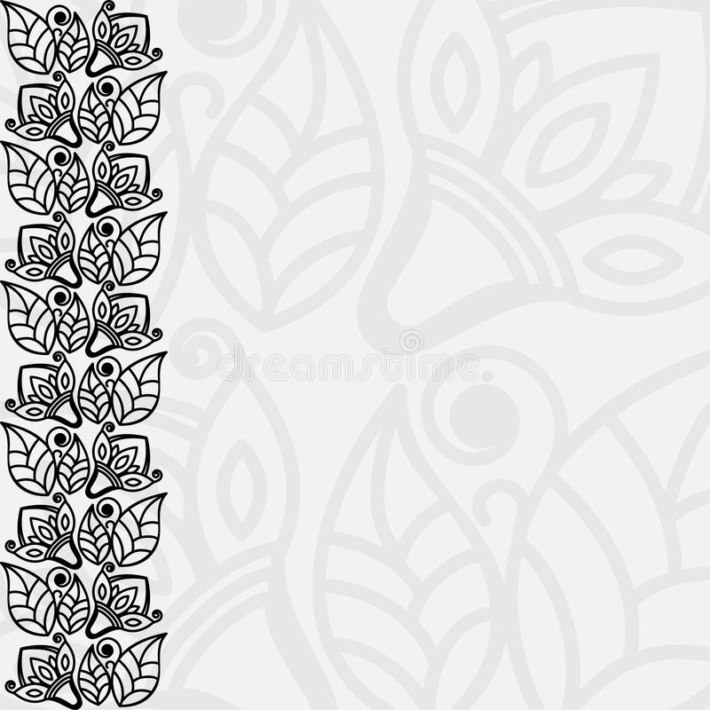 Filigree floral background. Black And White Filigree Floral Background vector illustration