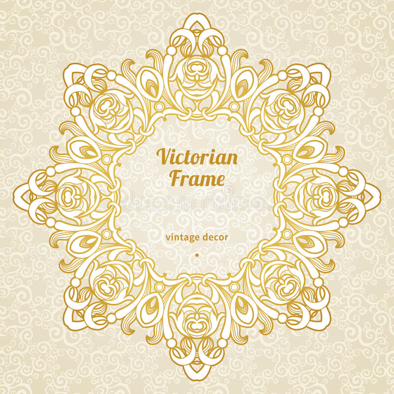 Filigree frame in Victorian style. Filigree frame in Victorian style in shape of a circle. Ornate element for design, place for text. Ornamental golden pattern vector illustration