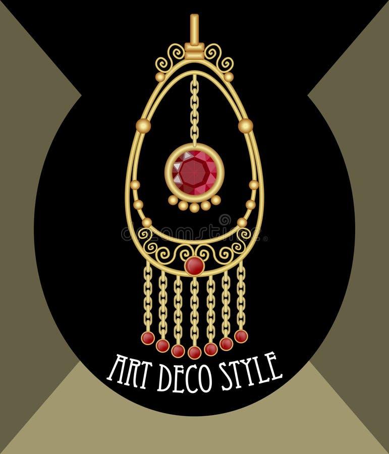 Filigree gold jewelry. Oriental earring. Golden earring. Noble pendant. Ruby earring on black background. Pendant with red gem. Luxury bijou. Gold metal vector illustration