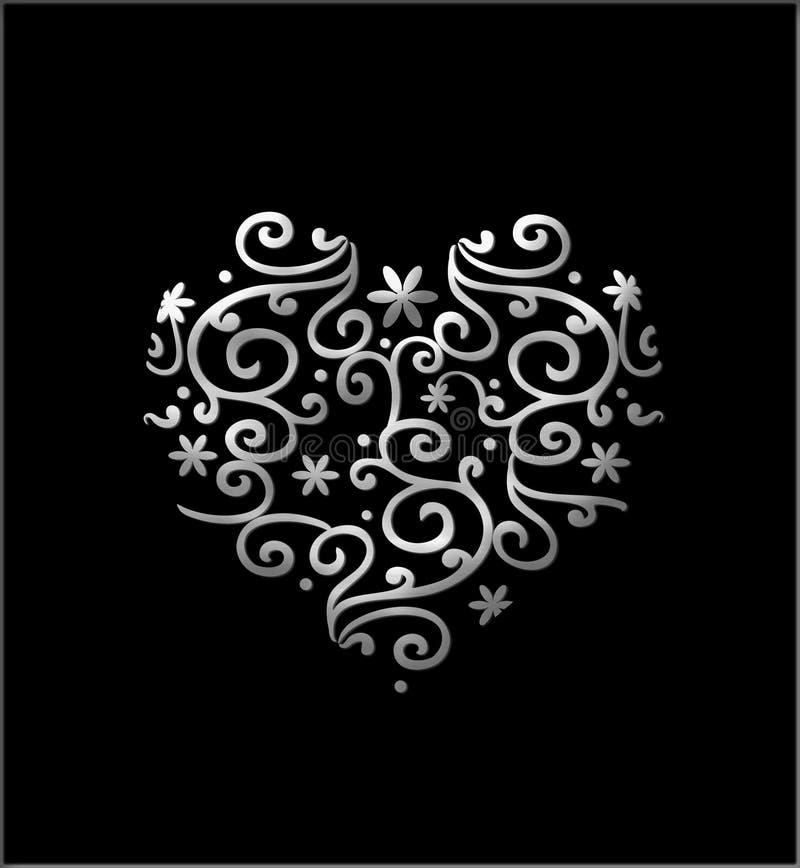 Filigree Heart. Silver filigree floral heart isolated on black vector illustration