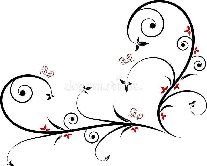 Filigree kierowy kształta projekt accessorized z liśćmi, spiralami, czerwień kwiatami i motylami, ilustracji