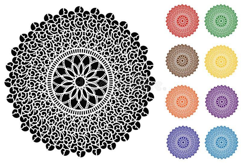 Lace Doily Placemats, 9 Jewel tones, Filigree Design vector illustration